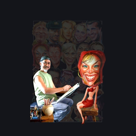 Edd Aragon with Kylie Minogue caricature